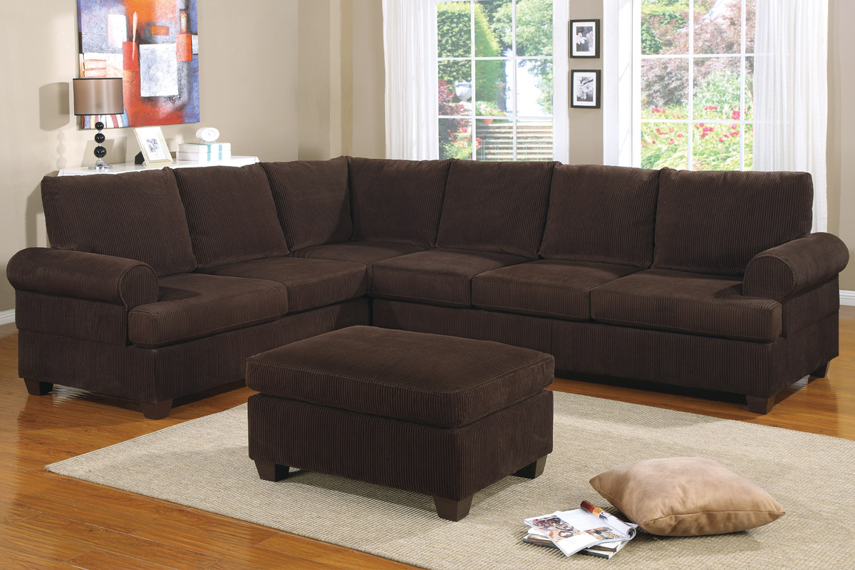 2Pcs Sectional 007133 Chocolate Corduroy