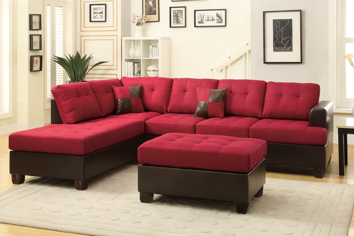 Sectional F7601 Carmine with Ottoman