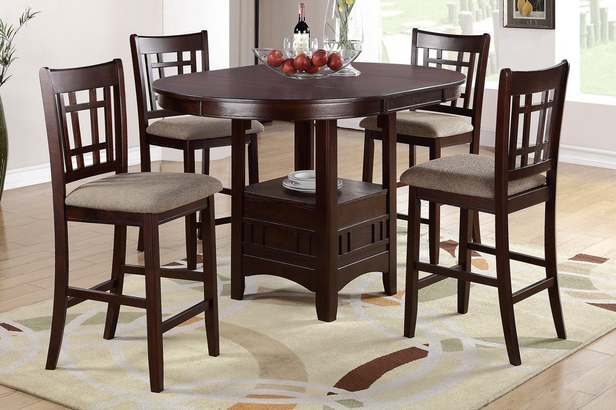 Marvelous 5Pcs Dining Set Counter Height 002346
