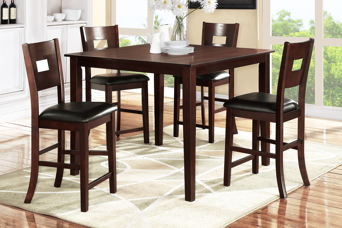 Counter height wood dining set f2115 furniture mattress for Counter height dining set