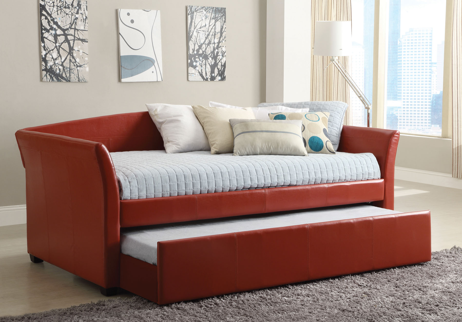 Faux Leather Daybed CM1956RD Furniture Mattress Los Angeles and
