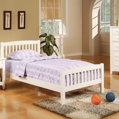 twin wood bed f9008 color white