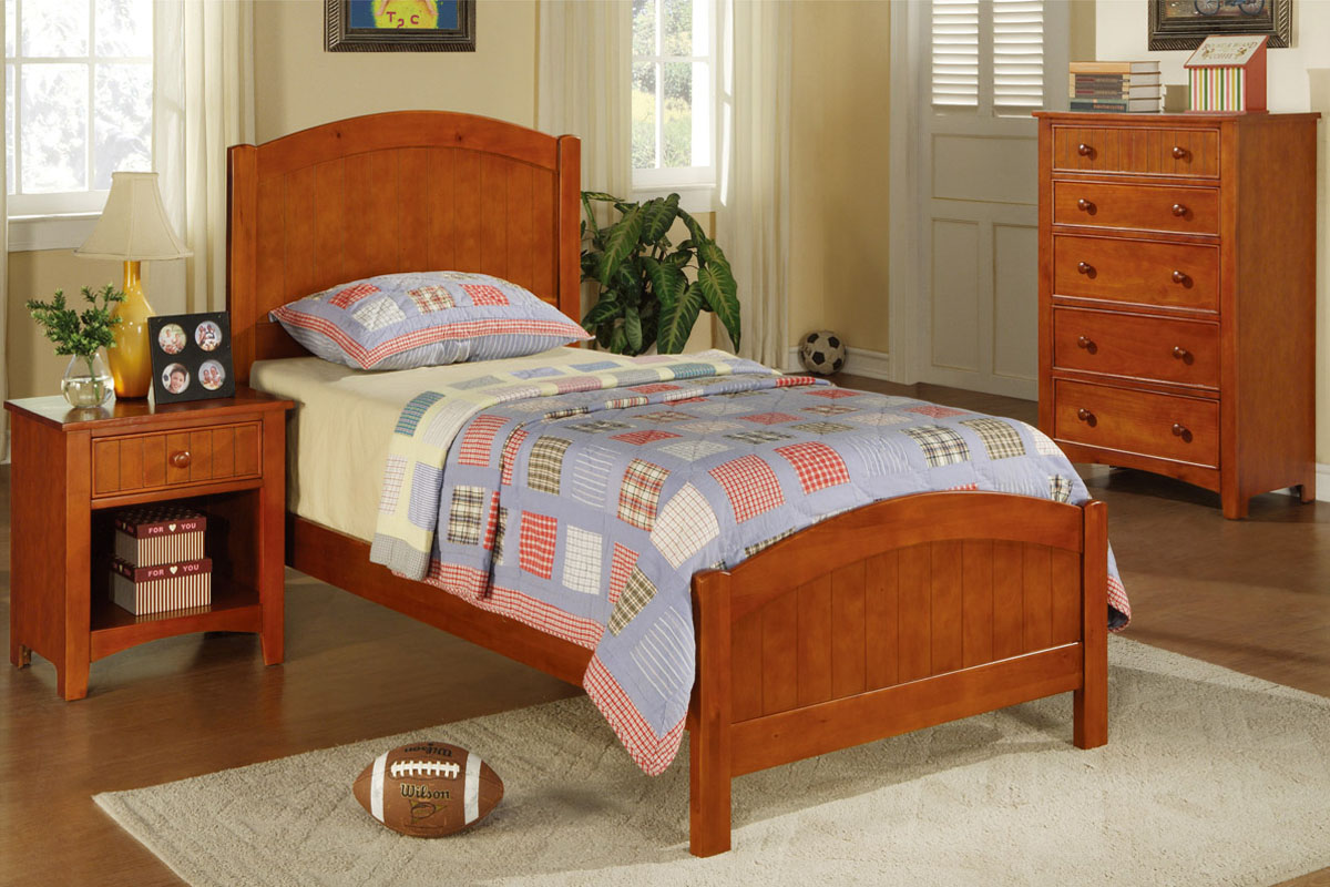 Twin Wood Bed F9206 Color Medium Oak Wood Furniture