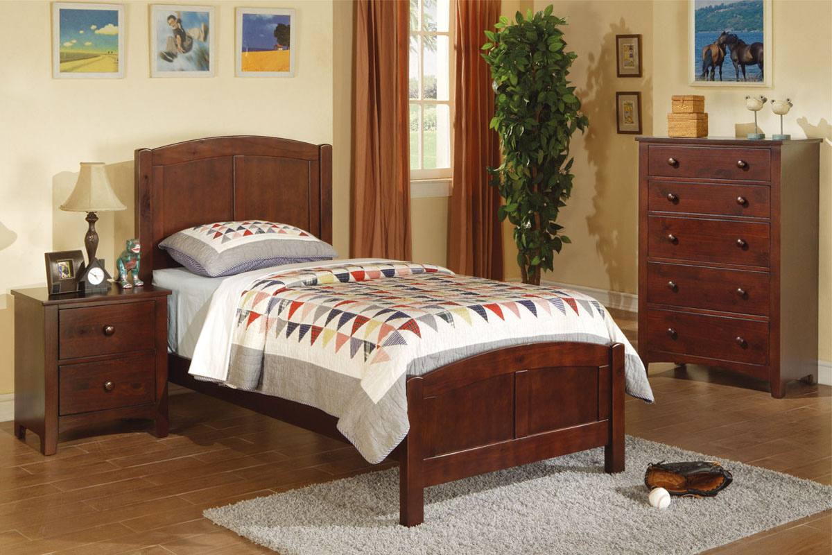 Twin Wood Bed F9206 Color Medium Oak Wood