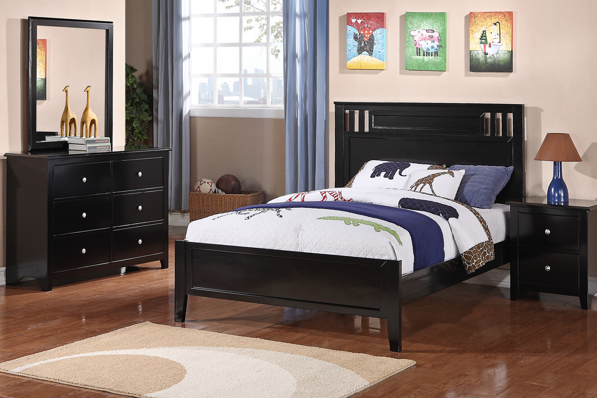 Twin Wood Bed Color Black