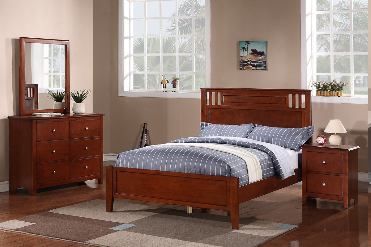 Twin Wood Bed F9047t Color Medium Oak Furniture Mattress