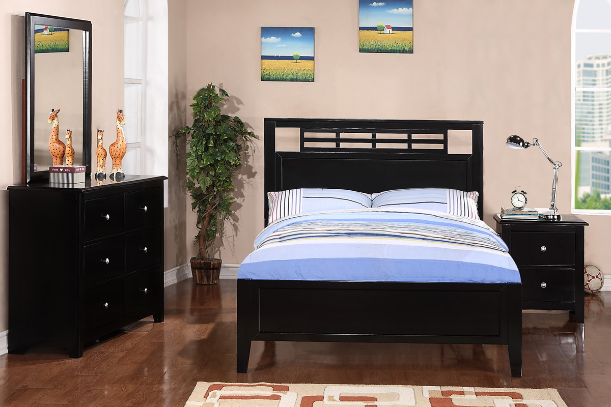 Twin Wood Bed F9084 Color Black