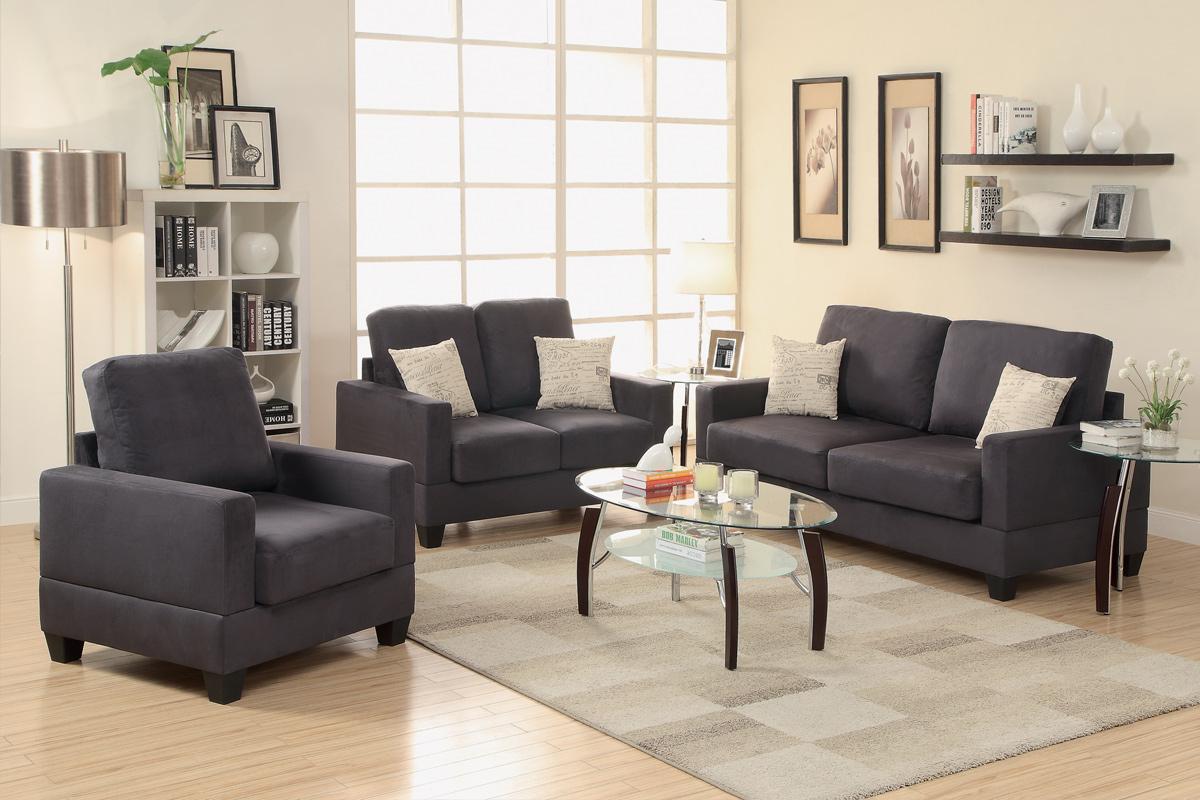 3-Pcs Sofa Set color Ebony