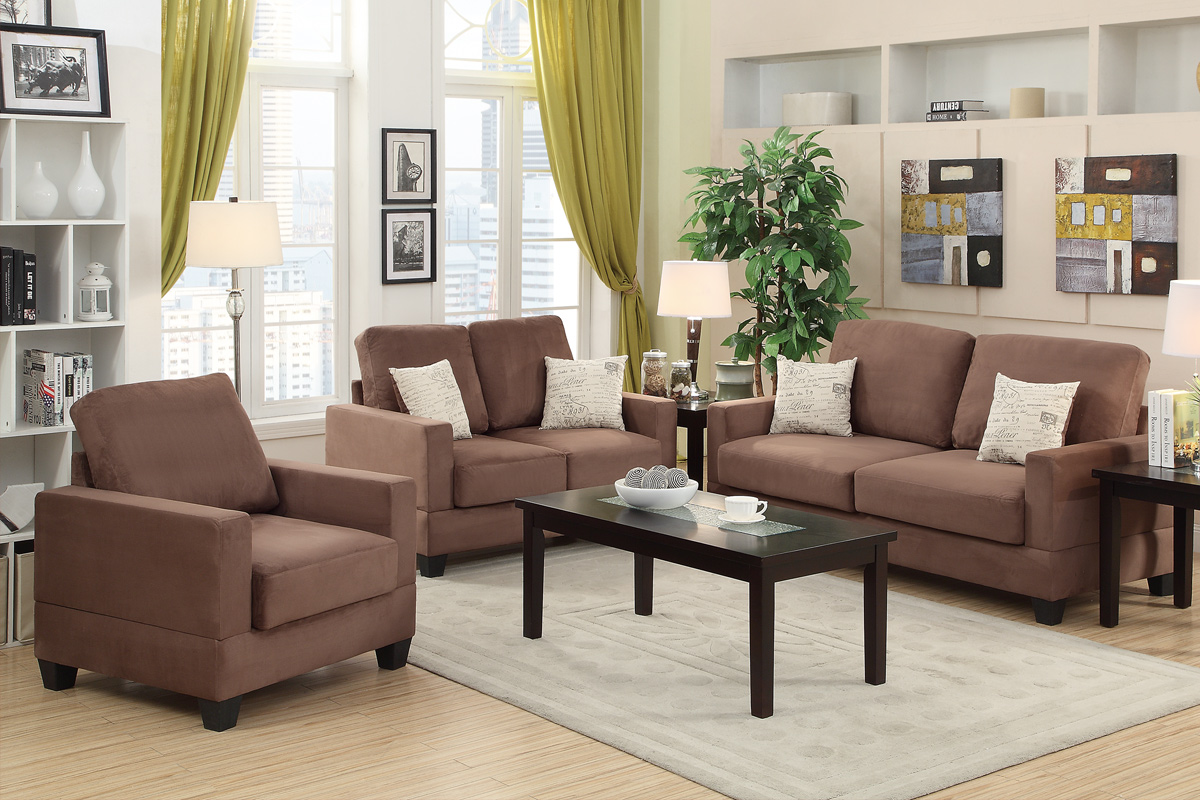 3 Pcs Sofa Set Color Ebony F7912 F7913 F7914