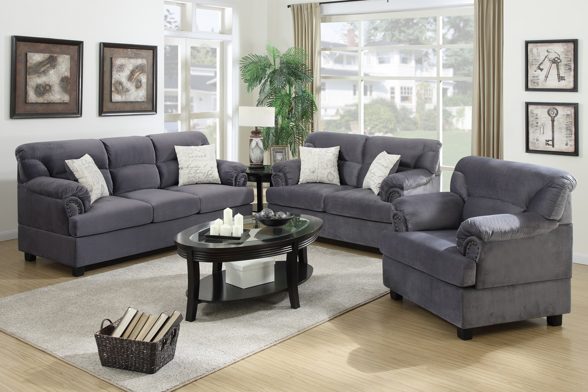 Wondrous 3 Pcs Sofa Set F7916 Color Grey Interior Design Ideas Clesiryabchikinfo