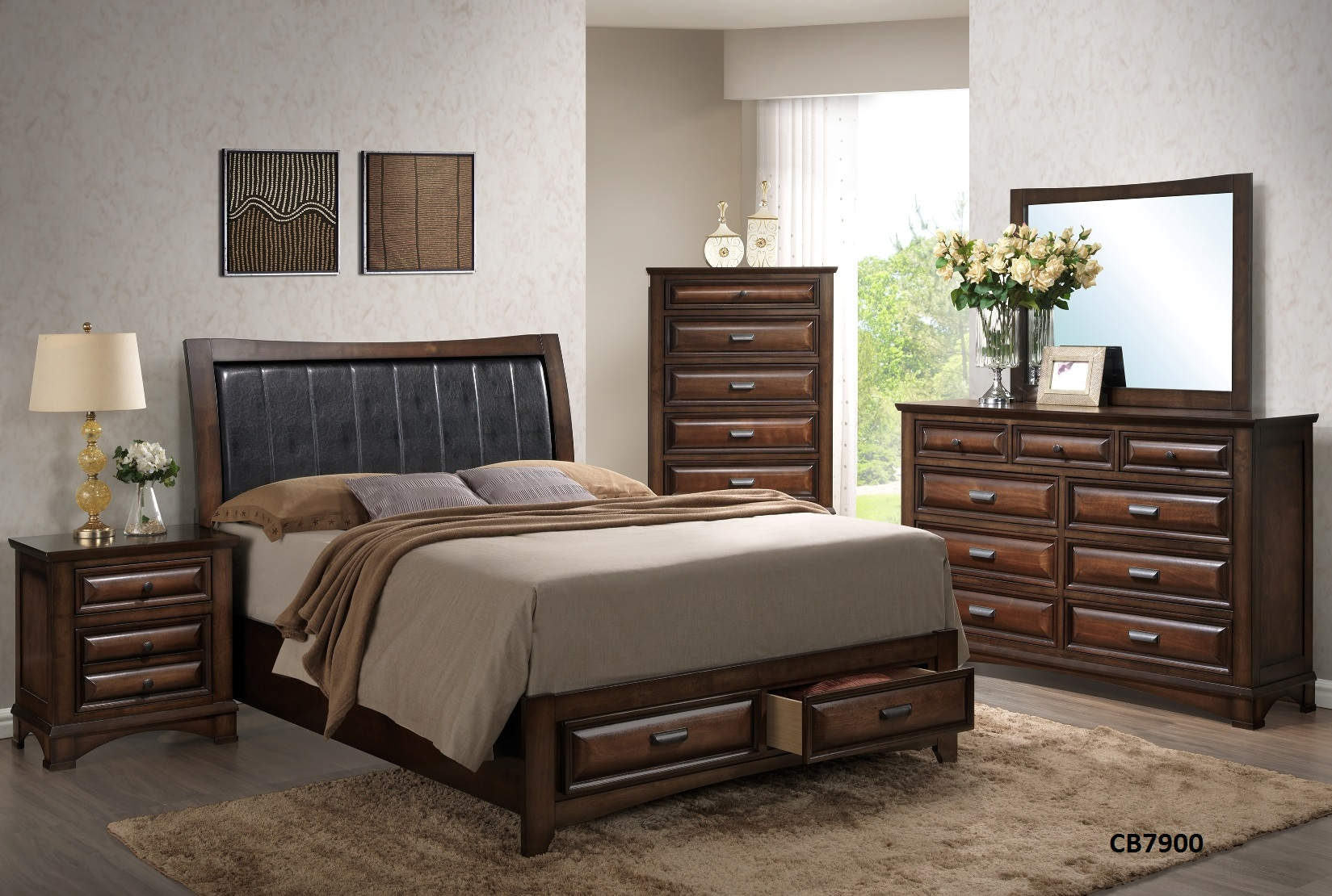 Bed Frame, Nightstand, Dresser, Mirror, mattress not included nor 5 chest drawer