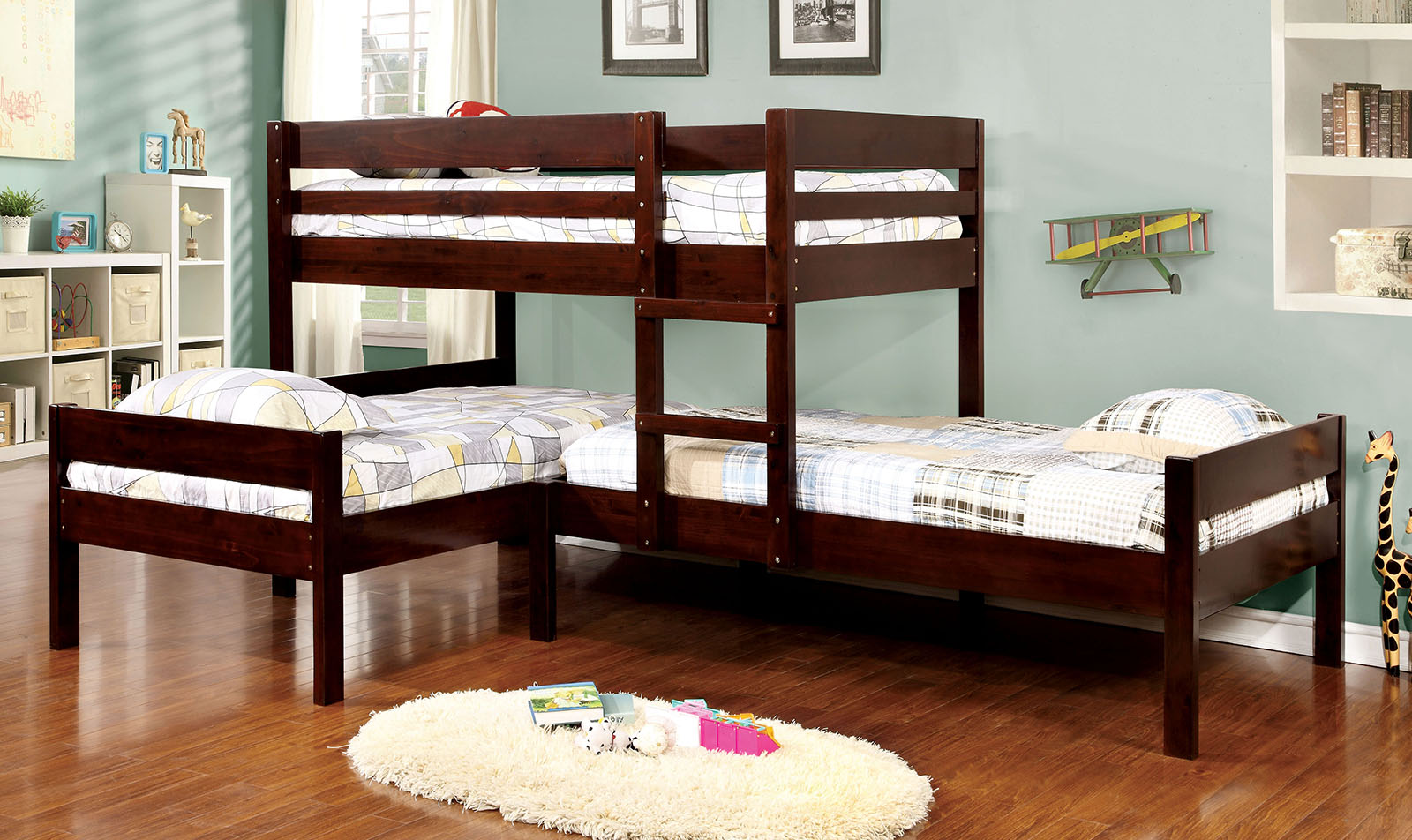 Ranford cm bk626 t t t bunkbed furniture mattress los for Double bed bedroom sets