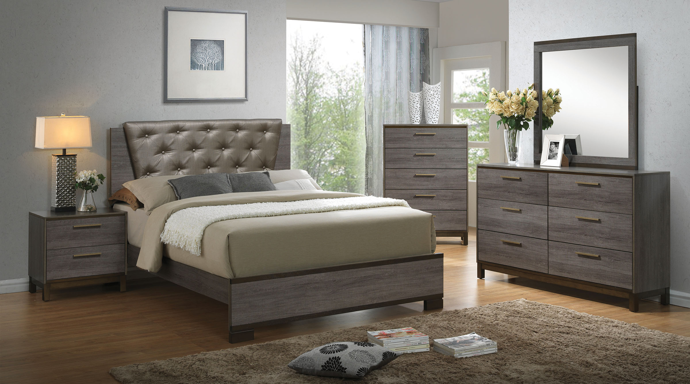 Manvel Cm7867 4pc Bedroom Set Furniture Mattress Los
