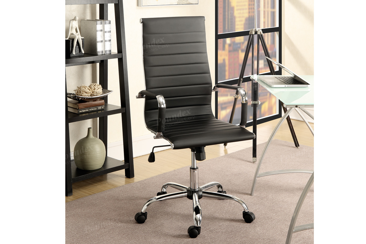 Modern Functionality Is What This Lumbar Support Office Chair Was Made For Its All Black Leatherette Upholstery Features Silver Arm Supports With A