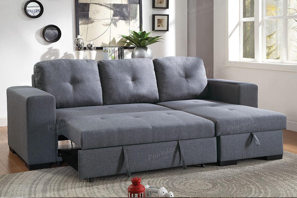 Convertible Sofa Compact F6910 Blue Grey