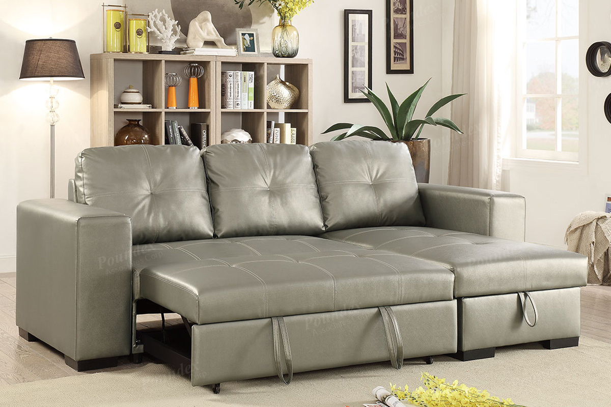 Astounding Convertible Sofa Compact F6919 Silver Interior Design Ideas Gentotryabchikinfo