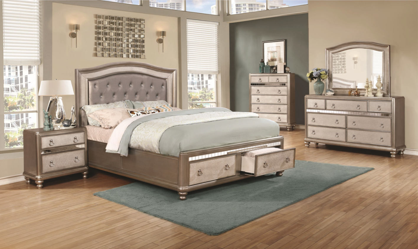 Bling Game 4pc Storage Bedroom Set Furniture Mattress