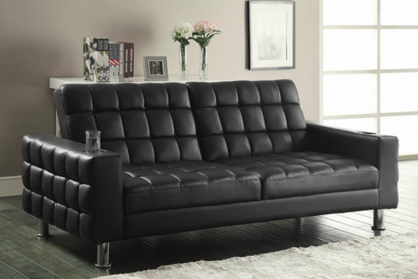 Brown Faux Leather Sofa Bed 300294