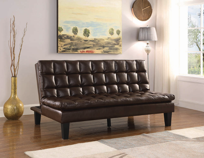 Upholstered Tufted Sofa Bed Brown 360032