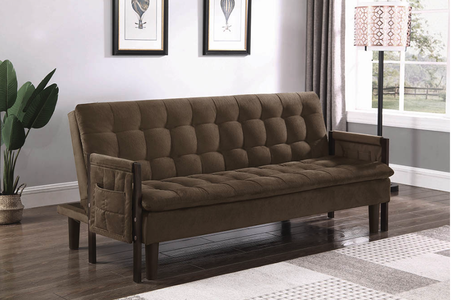 Upholstered Tufted Sofa Bed Brown And Cappuccino
