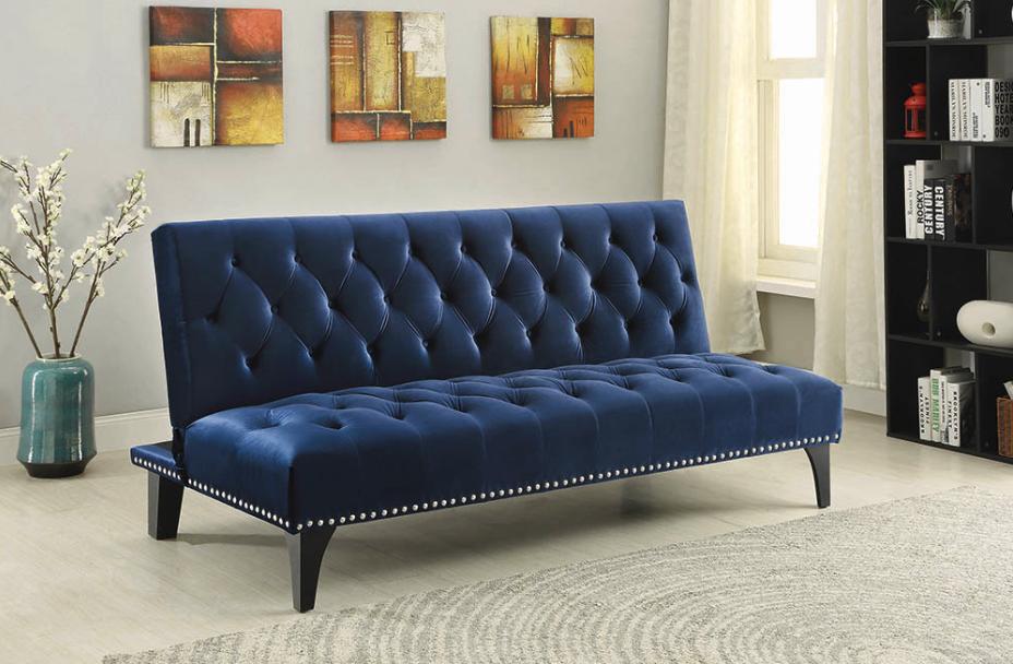 Blue Velvet Sofa Bed 500097