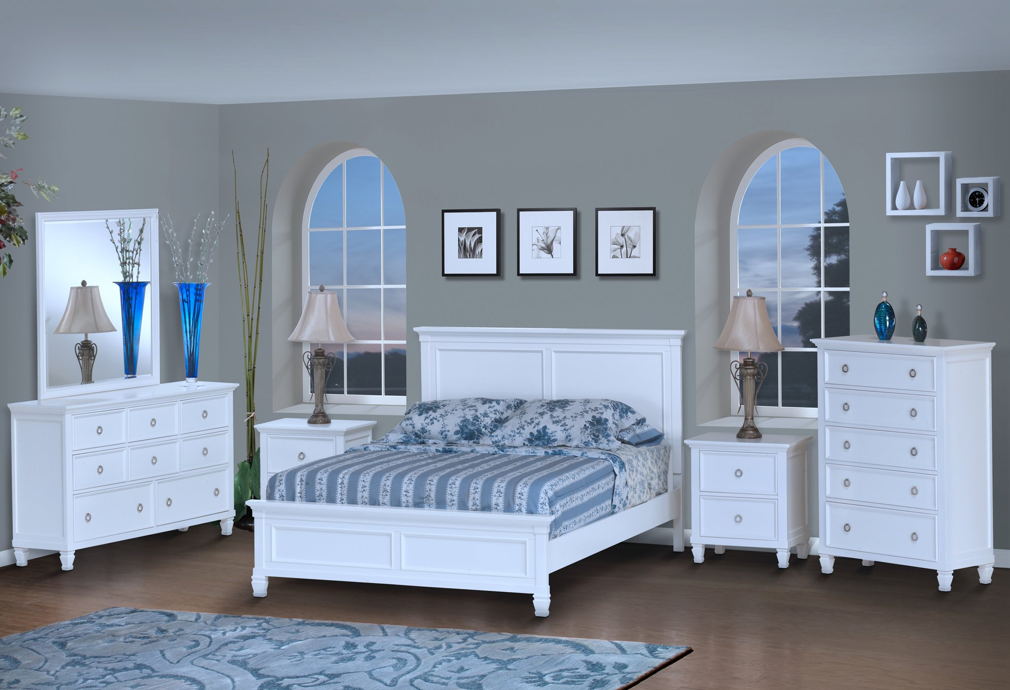 Tamarack Color White Bed Frame (Clearance)